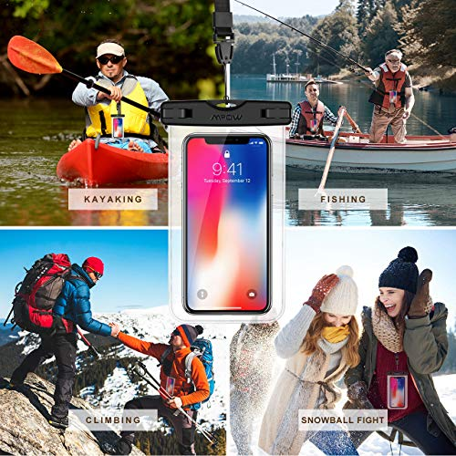 "Mpow Universal Waterproof Case, IPX8 Waterproof Phone Pouch Dry Bag Compatible for iPhone Xs Max/XS/XR/X/8/8P/7/7P Galaxy up to 6.5"", Protective Pouch for Pools Beach Kayaking Travel or Bath (2-Pack)"