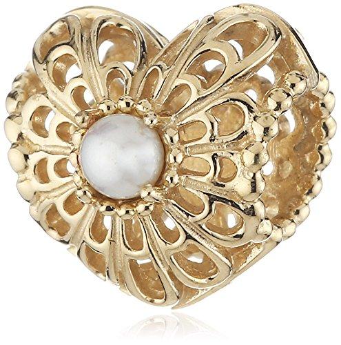 Pandora 750822P 14K Gold Vintage Heart Charm - Vintage 14k Charm