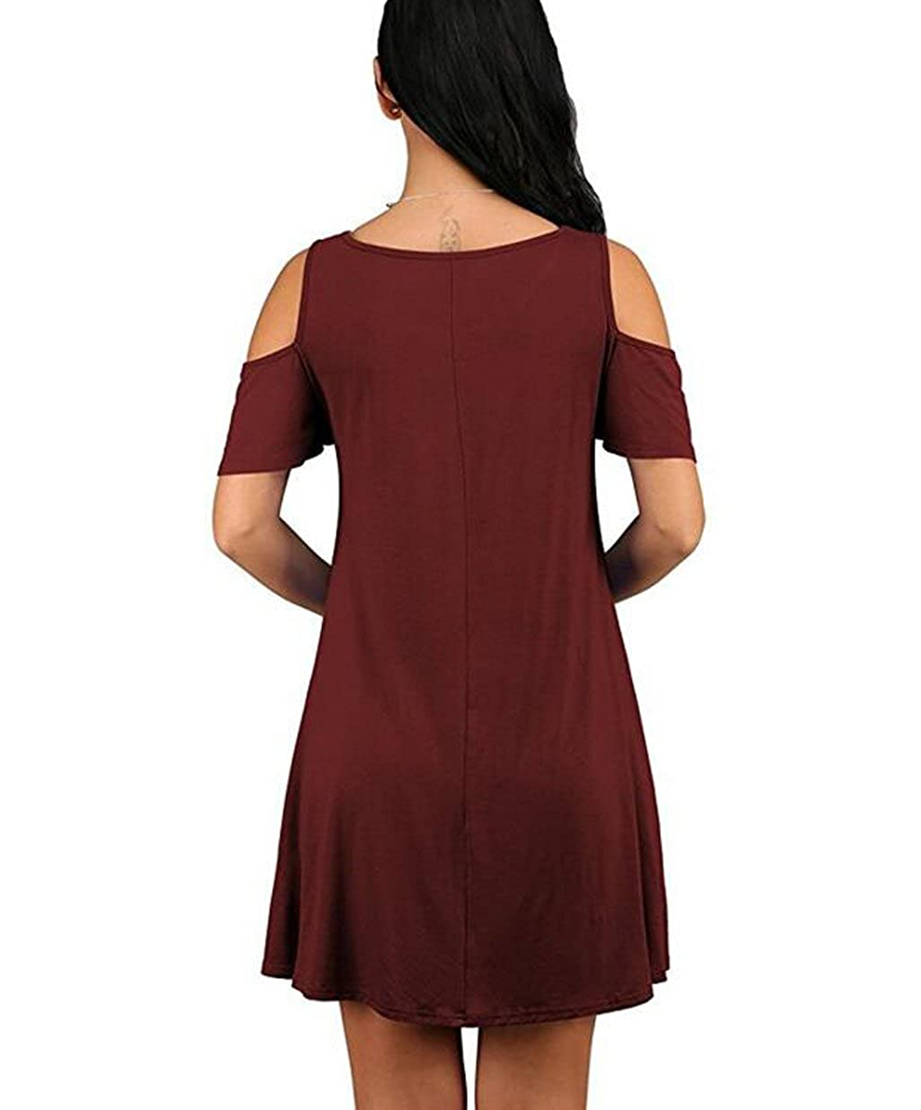 3d801078234 GABREBI Women s Sexy Casual T-Shirt Drsses Cold Shoulder Tunic Plus Size  Top Swing Dress Sundresses With Pockets at Amazon Women s Clothing store
