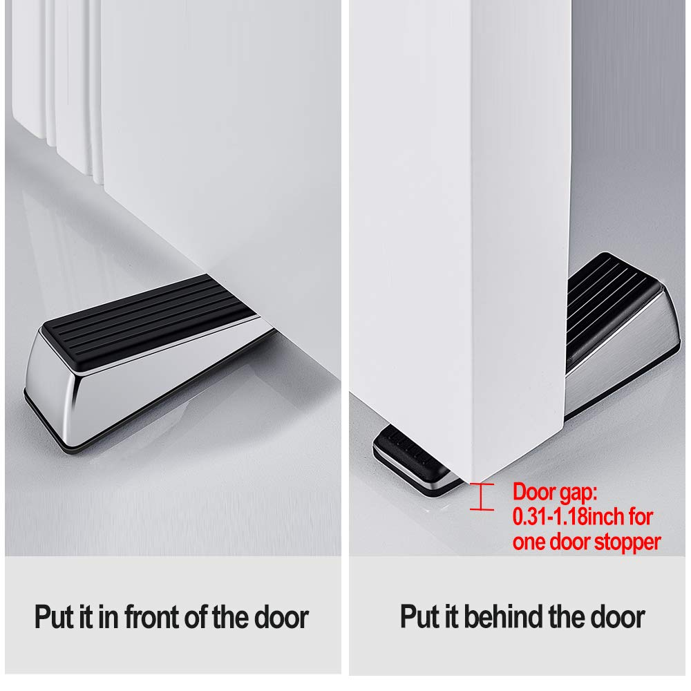 Easy to Insert Bright Color Non Scratching Door Stops Made of Rubber and Zinc Alloy Heavy Duty Decorative Door Stop Wedge Suits Any Floor for Home and Office Shackcom Door Stopper 2 Pack