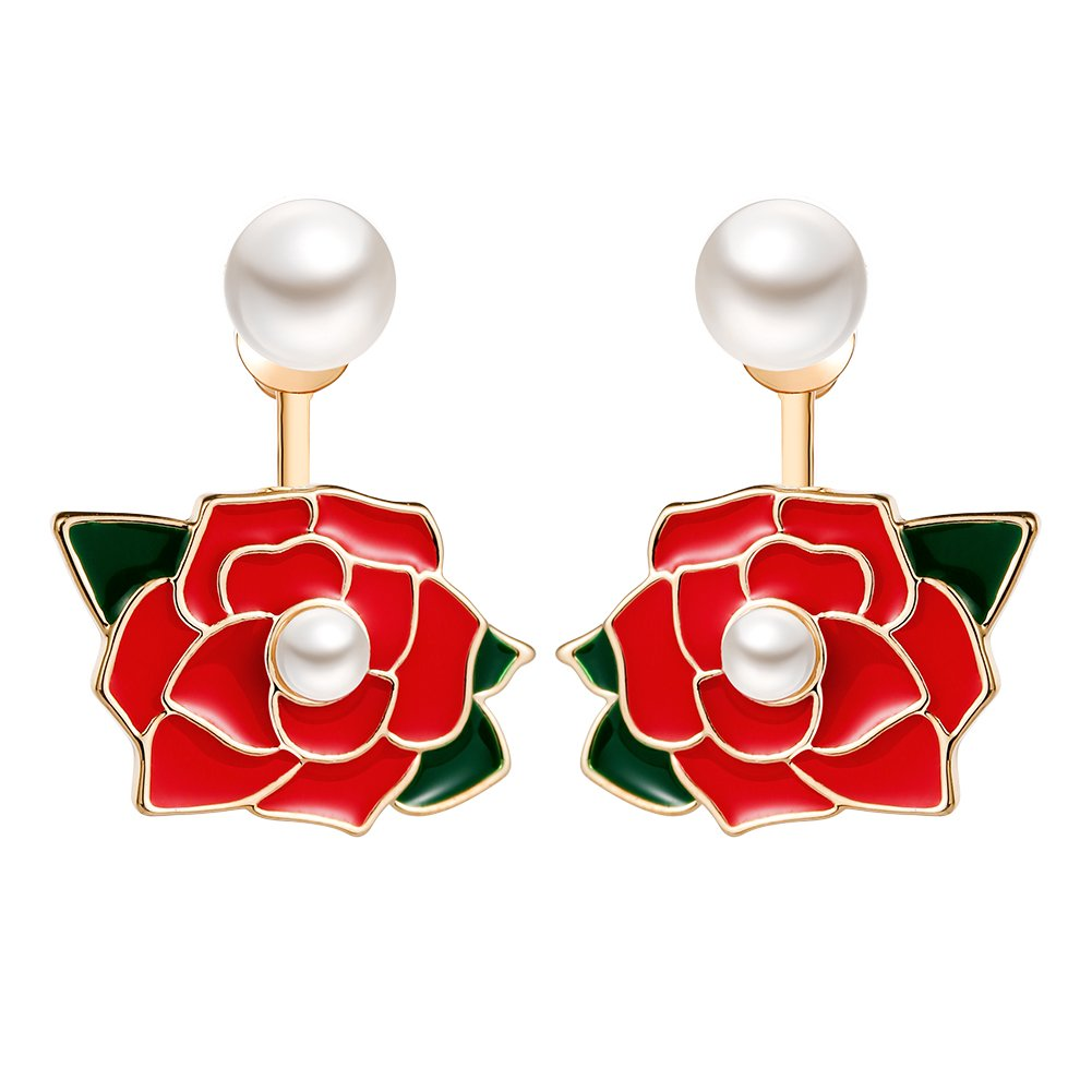 GooNight Pearl Stud Earrings with Red Rose Ear Jacket Double Ways to Wear