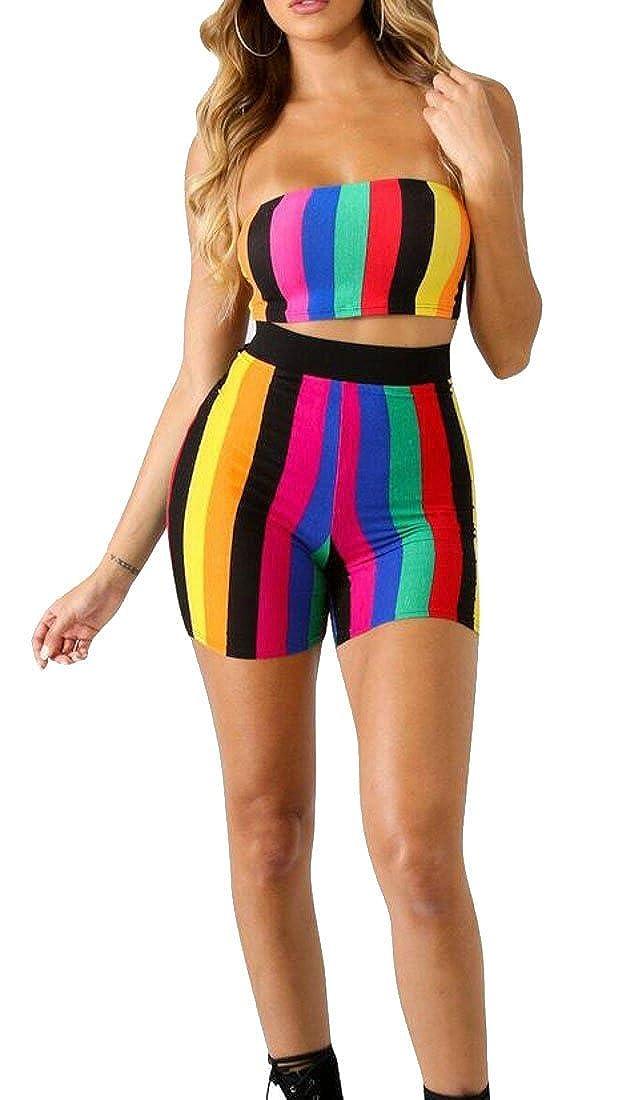 X-Future Womens 2 Pieces Striped Color Block Bandeau Shorts Tracksuit Outfit Set