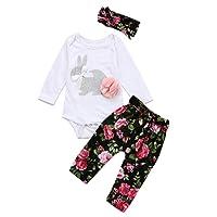 Sunenjoy 3 Pcs Enfant Infantile Bébé Filles Long Manchon Floral Vêtements Ensemble Tops + Pantalon + Bandeau Tenues