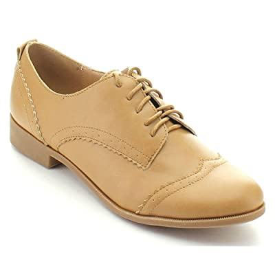 Nature Breeze CAMPUS-01 Women's Five-Eye Lace Up Wing Tip Perforation Oxfords | Oxfords