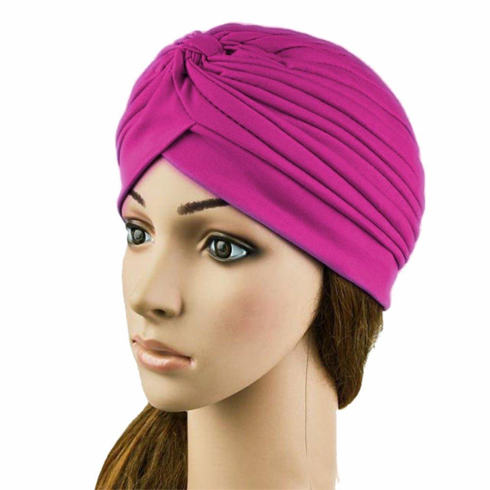 Weixinbuy Women Indian Style Headwrap Cap Turban Hat Hair Cover Rose