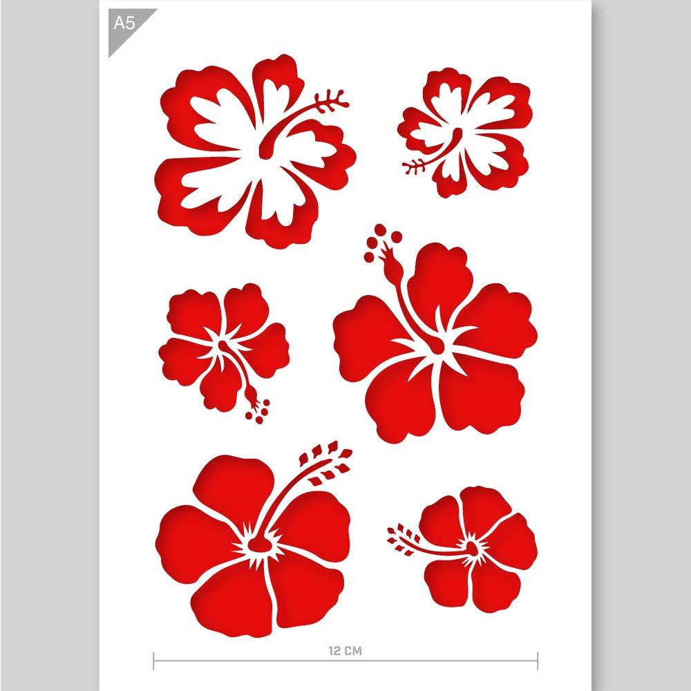 Stencil di fiori - cartone o plastica - A5 14,8 x 21 cm - Tutta la larghezza dei fiori - pittura, artigianato, muro, stencil mobili - riutilizzabili per bambini (Cartone) QBIX Brand