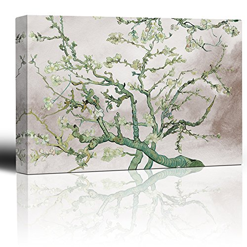 Almond Blossoms on Vintage Background Updated Vincent Van Gogh Fine Art twist