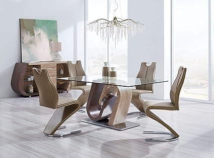 Global Furniture   D4126 Modern 5 Piece Dining Room Set   Dark Brown/Light
