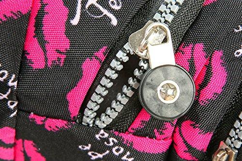 iSuperb® Praktisch Damen Bauchtasche Gürteltasche Hüfttasche mit 4 Reißverschlusstasche für Alltag Reise Festivals (Lila mit Blumen) Heiße Lippe kNNtnN