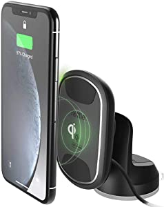 iOttie ITap 2 Wireless Magnetic Qi Wireless Charging Dashboard Mount || Compatible with IPhone XS XR X Max Samsung S10 S9+ Smartphones | + Dual Car Charger