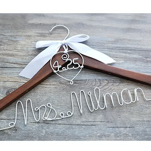 Custom wedding hanger with heart and date for for Wedding dress hanger amazon