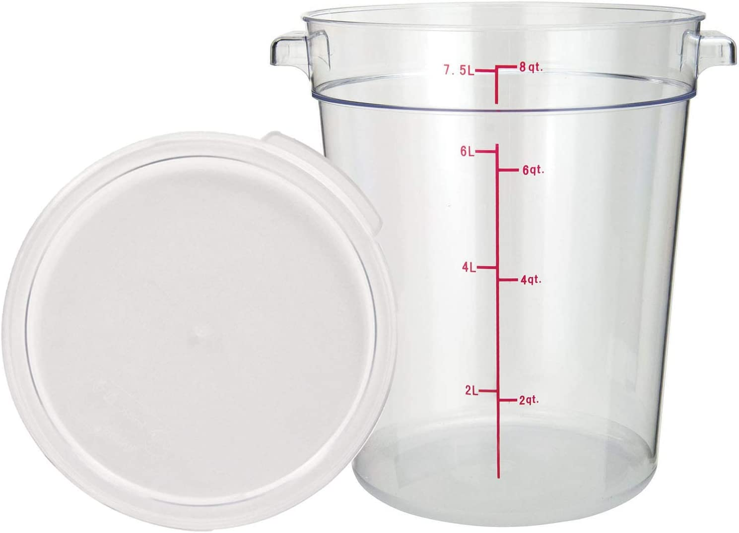 Tiger Chef 8 Quart Commercial Grade Clear Food Storage Round Polycarbonate Containers With Clear Lids