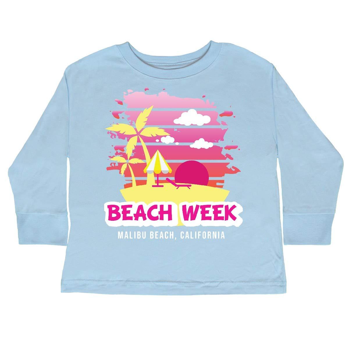 inktastic Beach Week Malibu Beach California with Toddler Long Sleeve T-Shirt