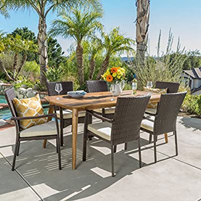 "Christopher Knight Home Pisciotta | 7 Piece Wood Outdoor Dining Set with Brown Wicker Stacking Chairs | Perfect for Patio | with Teak Finish - Includes: One (1) Dining Table and Six (6) Stacking Chairs Table Dimensions: 35.50"" D x 71.00"" W x 29.25"" H Seat Dimensions: 22.25"" D x 26.00"" W x 35.00"" H - patio-furniture, dining-sets-patio-funiture, patio - 61u90b8ww1L. SS400  -"