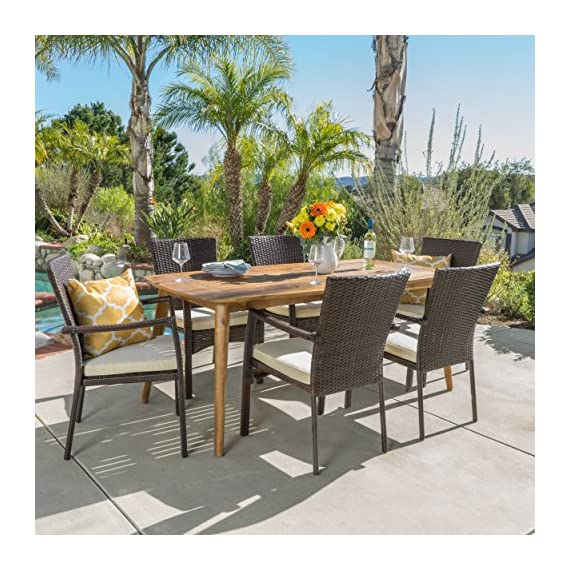 "Christopher Knight Home Pisciotta | 7 Piece Wood Outdoor Dining Set with Brown Wicker Stacking Chairs | Perfect for Patio | with Teak Finish - Includes: One (1) Dining Table and Six (6) Stacking Chairs Table Dimensions: 35.50"" D x 71.00"" W x 29.25"" H Seat Dimensions: 22.25"" D x 26.00"" W x 35.00"" H - patio-furniture, dining-sets-patio-funiture, patio - 61u90b8ww1L. SS570  -"