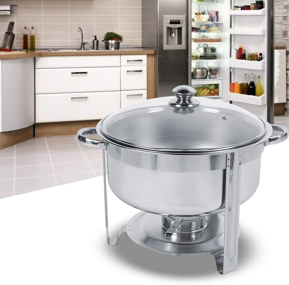 7.5L Stainless Steel Round Chafing Dish with Cover Alcohol Furnace Soup Pot Hot Pot Chafing Dish for Buffet Catering Buffet Set