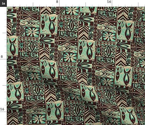 Spoonflower Tiki Fabric - Cocktail Luau Oasis Hukilau Print on Fabric by The Yard - Chiffon for Sewing Fashion Apparel Dresses Home Decor