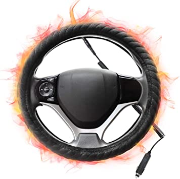 SEG Direct Heated Steering Wheel Cover for Standard-Size Steering Wheels with 14.5 inches-15 inches Outer Diameter,12V Quick Heating Black Velour with Coiled Cord