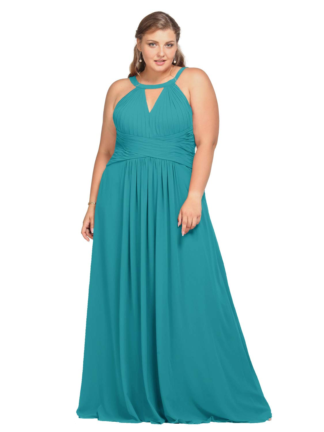 Alicepub Plus Size Bridesmaid Dress Chiffon Long Formal Evening Prom Gown  for Wedding Maxi, Turquoise, US20
