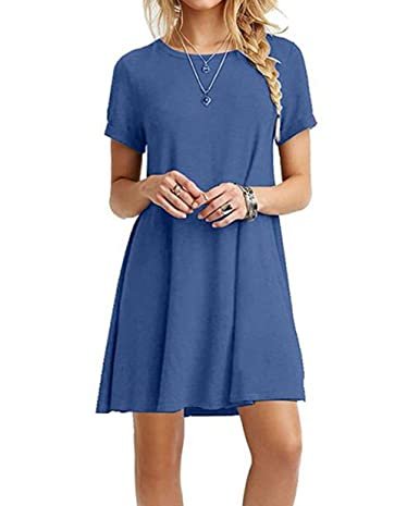 Women's Casual T-shirt Dress Short Sleeve Plus Size Loose Dresses Tank Sundresses Zero Jorla 4.7 out of 5 stars    29 customer reviews   Price: $8.99 - $16.99 & Free Return on some sizes and colors