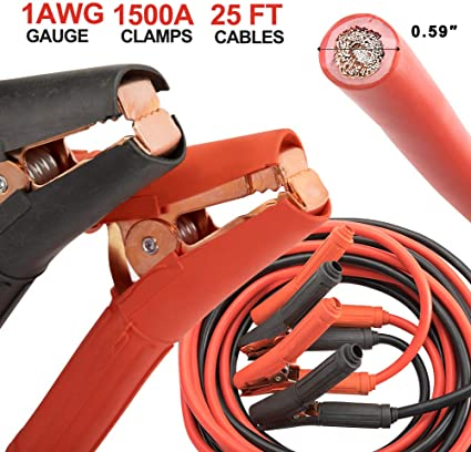 Portable Case 2 Gauge Booster Jumper Cables 25FT Heavy Duty Parrot Jaw Clamps