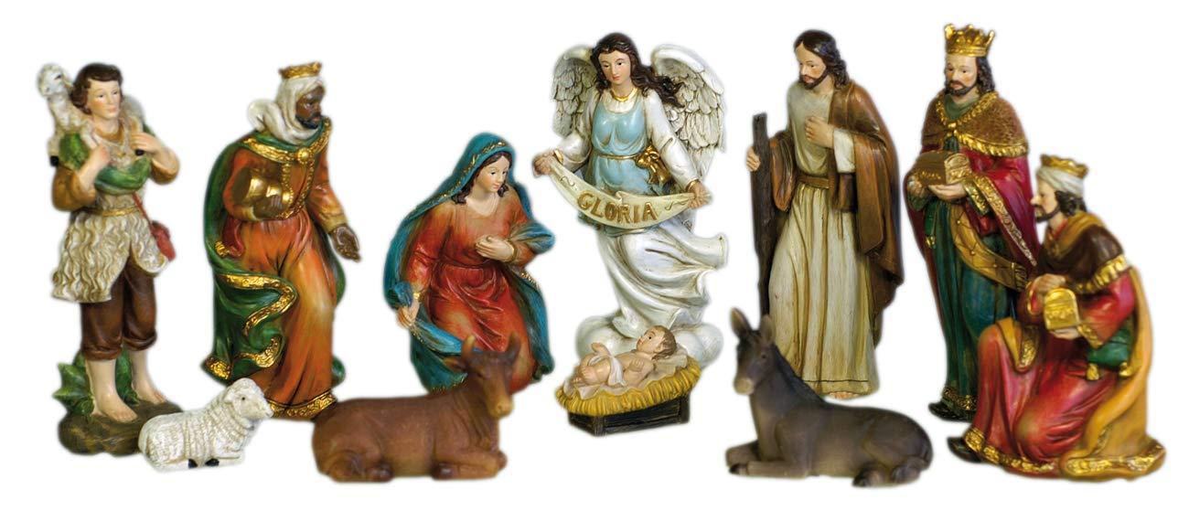 Flambeaux 11 Weihnachtskrippen-Motive 13 cm Weihnachtskrippen-Figuren Handbemalt antik