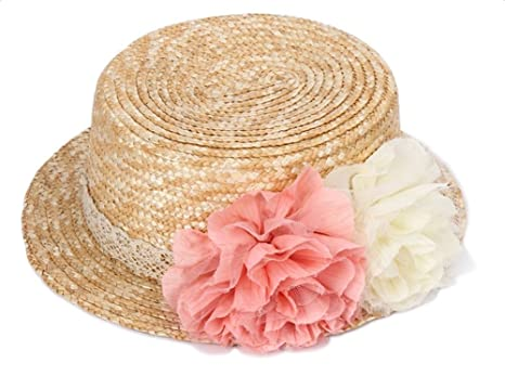 Skyeye Sombrero de Paja con Cúpula de Flores de Mujer Sombrero de Paja con  Bridas Sombrero 8e6bb9f6336