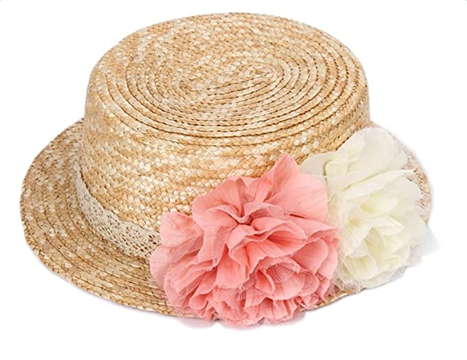 Gespout Eleganti Cappello Donne Estivo Primavera Protezione UV Cappello di  Paglia Cappellini con Visiera Fiori di Pizzo Topper Tesa Larga Berretto da  ... d0e601e85f6c
