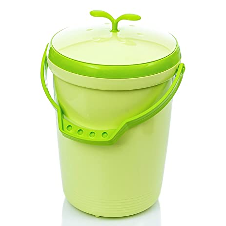 tenby living food waste compost bin for kitchen counter top use green