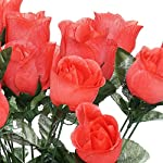 Tableclothsfactory-84-Artificial-Buds-Roses-Wedding-Flowers-Bouquets-Sale-Coral