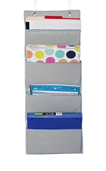 ECOHIP Wall Mount/Over The Door Office Supplies Storage Organizer, 4 Pockets,  Letter