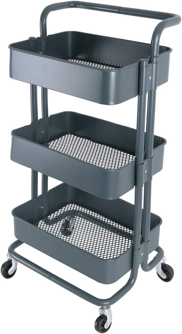 3-Tier Metal Mesh Storage Shelf Utility Rolling Cart with Removable Handle and Plug, Indoor or Outdoor Storage Organizer, Dark Gray