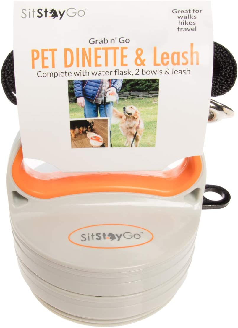 SitStayGo Compleash Travel Pet Bowl Walking Leash System Holds Dog Food, Water, Treats And More For the Pet On The Go