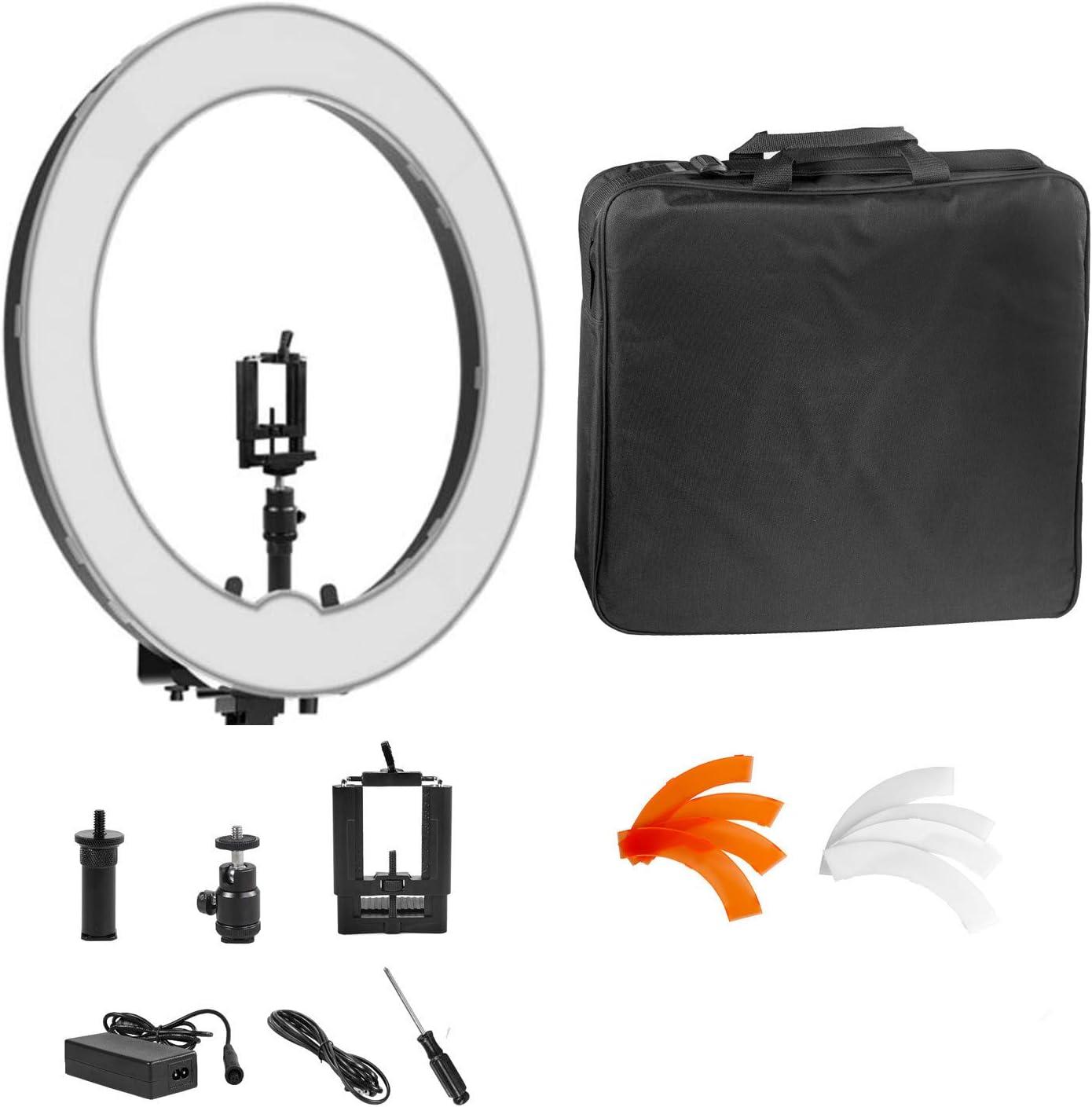 IVISII リングライト、RL-18」55W LED SMD調光リング照明キットカメラライトカラーフィルタ、回転可能な携帯ホルダー、ボールヘッドと(ライトスタンドなし)自分撮りYouTubeのためのキャリングバッグが含まれています 三脚なしでIR-45 /