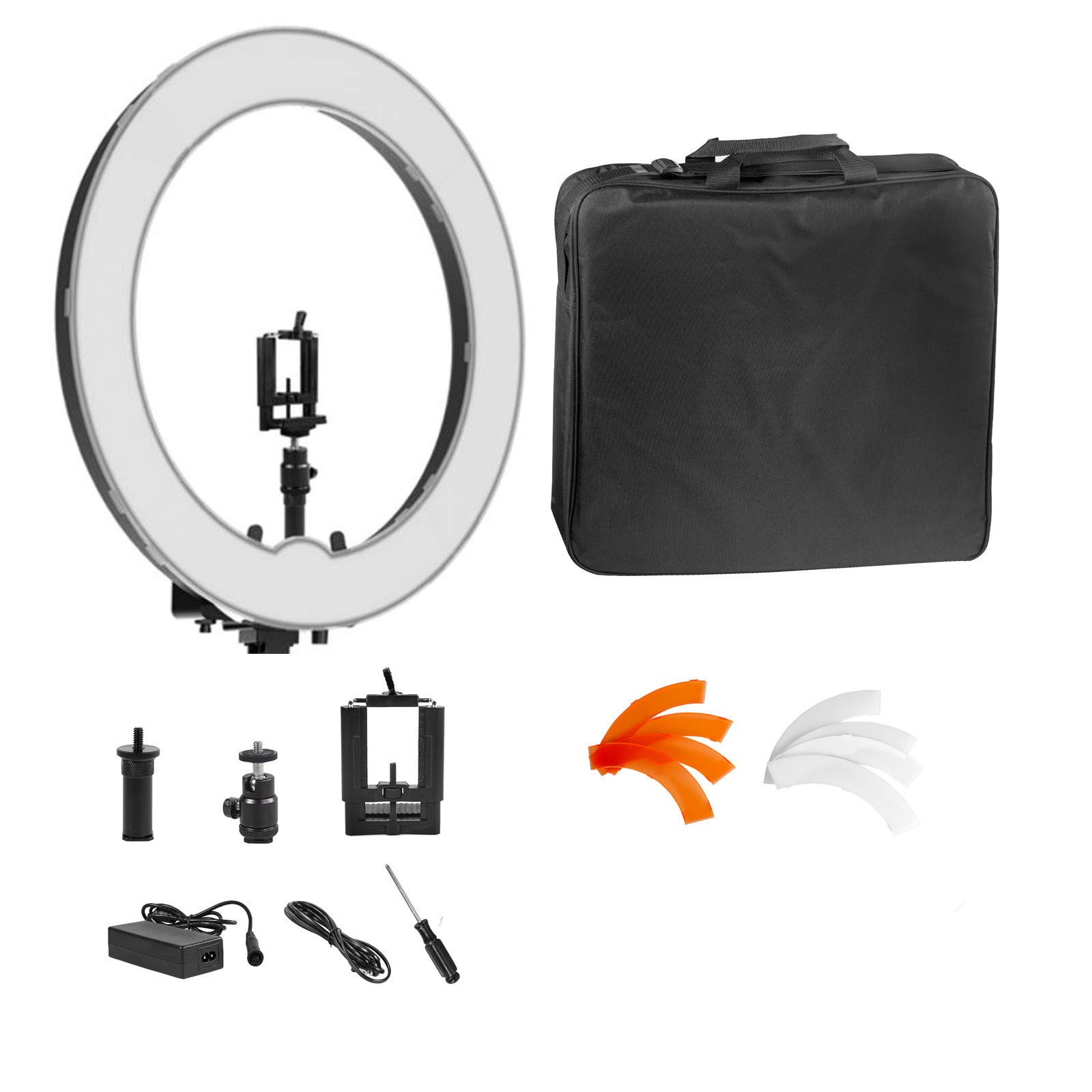 Ring Light Kit:18 inch Outer 55W 5500K Dimmable LED Ring Light for Camera,Smartphone,YouTube,Self-Portrait Shooting(No Light Stand)