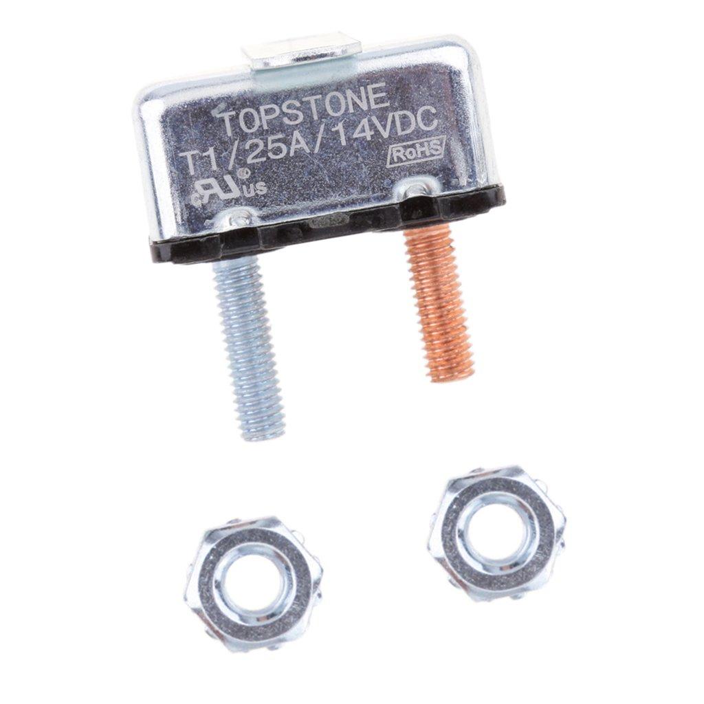 MagiDeal Auto Reset 12V Circuit Breaker Car Automatic Fuse Metal Stud Bolt Type 1 40A