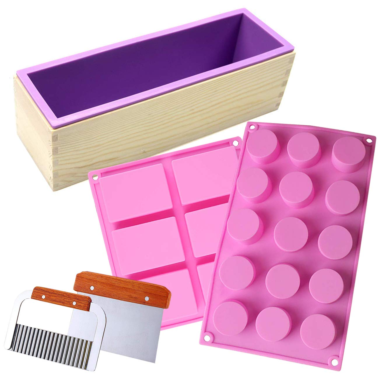 Ogrmar Silicone Soap Molds kit-42 oz Soap Mold with Wood Box, Stainless Steel Wavy & Straight Scraper,6-Cavities Rectangular Holes &15-Cavities Cylinder Mold for Soap Cake Making(Soap Molds Kit-A)