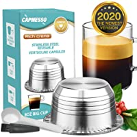 CAPMESSO Eco-Friendly Stainless Steel Reusable Coffee Capsules Refillable Vertuo Pods Compatible with Nespresso Vertuoline GCA1 and Delonghi ENV135
