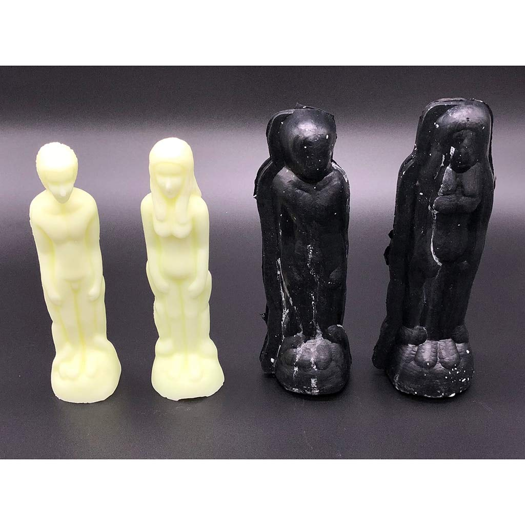 Candle Molds 2 Pieces Black Men Women Shape Candle Making Mould Soap Mold for Handcraft Ornaments Home Candle Making DIY Crafts 200mm