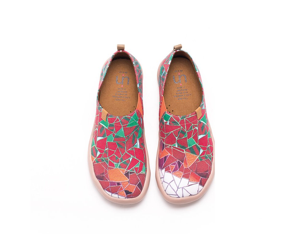UIN Women's Stained Glass Window Canvas Loafer Shoe Red (8.5)