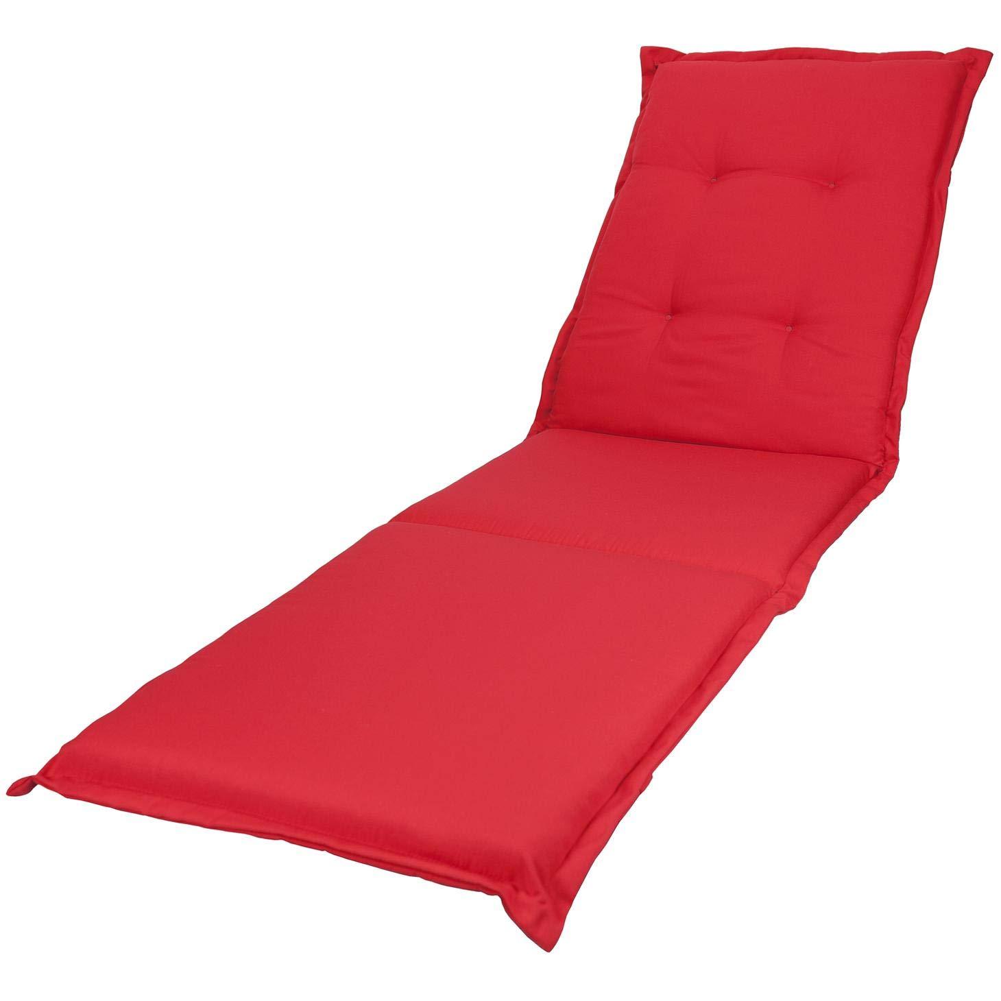 KOPU® Auflage Gartenliege Prisma Red   Liegenauflagen für Gartenmöbel   Rot Liegen Kissen 195 x 60 cm   19 einfache Farben   Robuster Schaumstoff für zusätzlichen Komfort