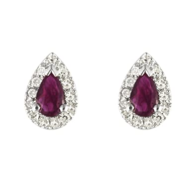 260d368020234 Ivy Gems 9ct White Gold Ruby and Diamond Tear Drop Stud Earrings