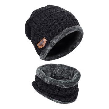GANA Bonnet Chapeau Tricot, Tour de Cou avec Doublure Polaire Hiver Homme  Femme Unisexe Chapeau 878fc43bf1f