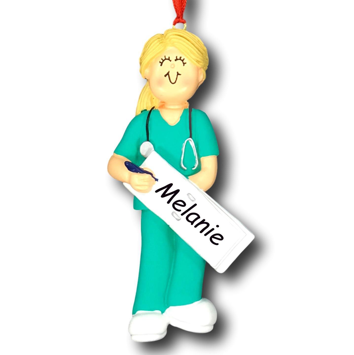 Amazon.com: Personalized Female Scrubs Nurse Christmas Tree Ornament ...