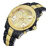 "JBW JB-6213-D ""Jet Setter"" Reloj analógico de cuarzo de dos tonos con cinco zonas horarias de diamante"