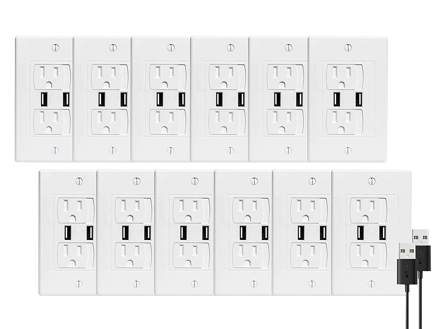 BUENAVO Universal Electrical Outlet Covers with USB Port, Baby Safety Self-Closing Wall Socket Plugs Plate Alternate for Child Proofing, BPA Free (12 Pack) T4g-Outlet-12USB