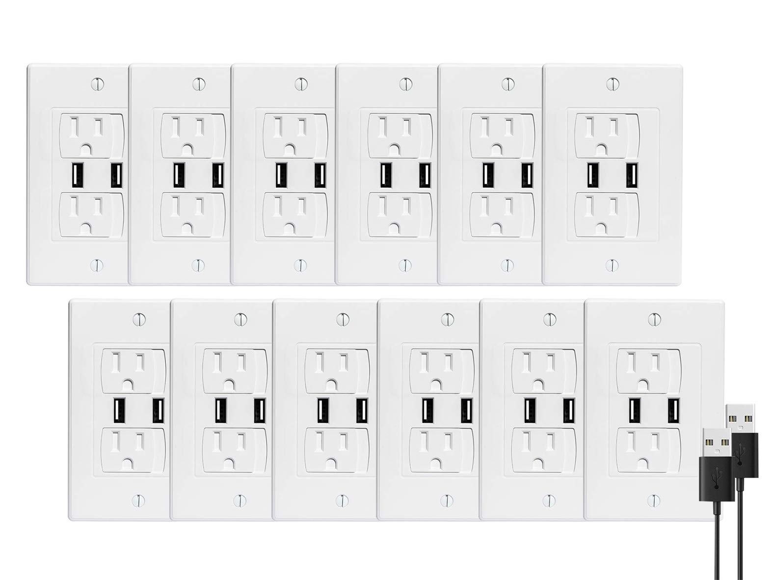 BUENAVO Universal Electrical Outlet Covers with USB Port, Baby Safety Self-Closing Wall Socket Plugs Plate Alternate for Child Proofing, BPA Free (12 Pack)