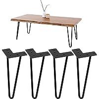 ML-Design Set van 4 Tafelpoten Haarspeld Poten met 2 Stutten, 20.5cm, gemaakt van Staal, Zwart, incl. Vloerbeschermers…