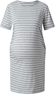 YESOT Maternity Casual Dresses Ruched Short Sleeve Stripe Dresses for Daily Wearing Or Baby Shower