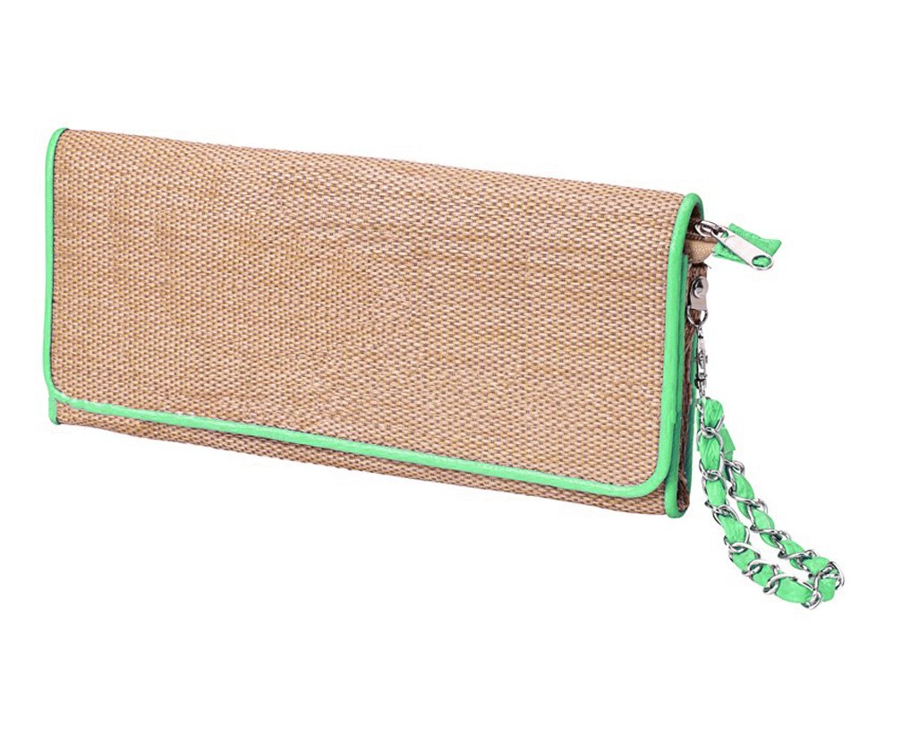 Straw Beach Clutch with Wristlet Strap in Fun Summer ColorsCan Be Personalized (Personalized Initial, Lime Green)